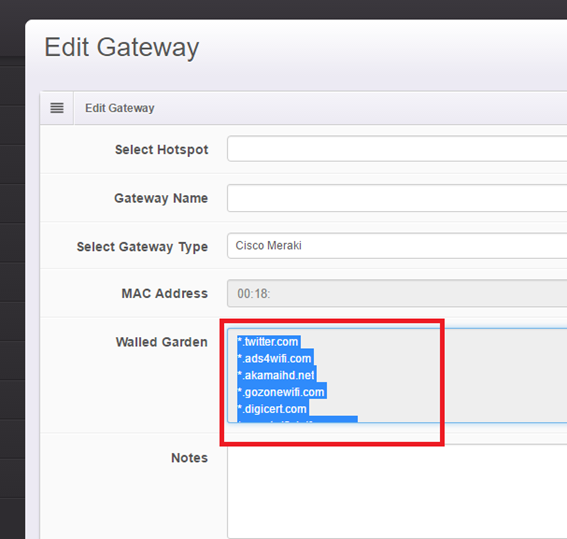 Dashboard Cisco Meraki Edit Gateway