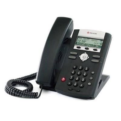 Polycom SoundPoint IP 321. Telefone do tipo Desktop, suporta até 2 linhas SIP, com 1 porta 10/100 PoE . NÃO inclui fonte