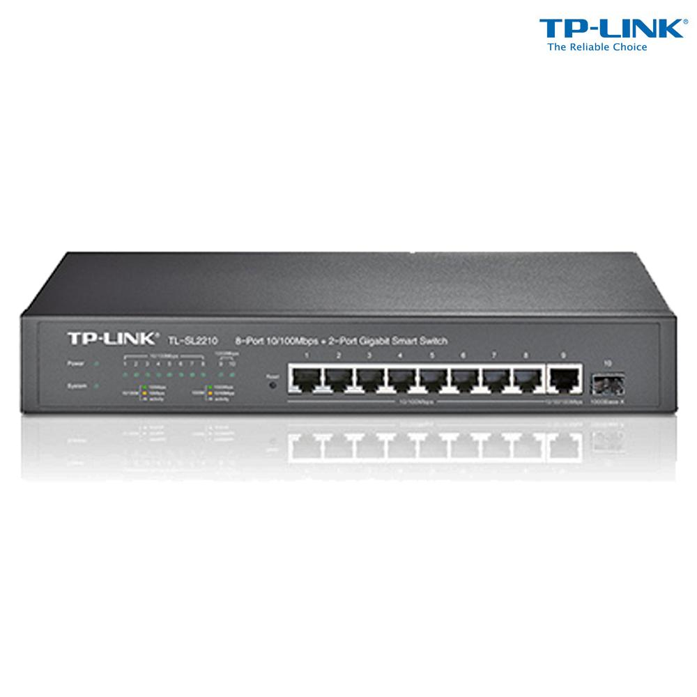 Switch TPLink 8-Port 10/100Mbps + 2-Port Gigabit Smart Switch RJ45 ports TL-SL2210